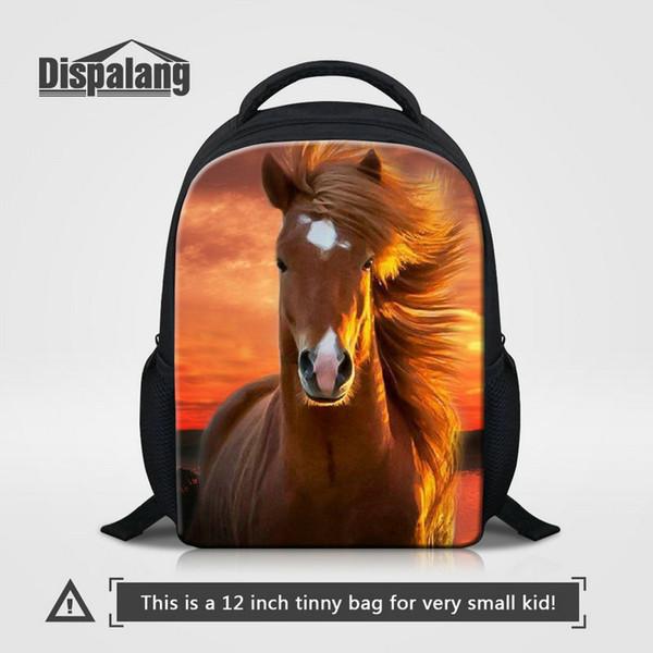 Kids Kindergarten Bookbag Brown Horse Animal Prints Backpack For Girls Boys 12 Inch Mini School Bag Child Travel Shoulder Bag Sac A Dos Pack