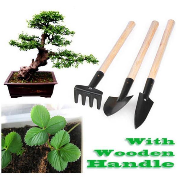 3pcs mini pelle râteau ensemble mini outil de jardin outils bonsaï outils manche en bois tête en métal pelle herses bêche pour fleurs plantes en pot