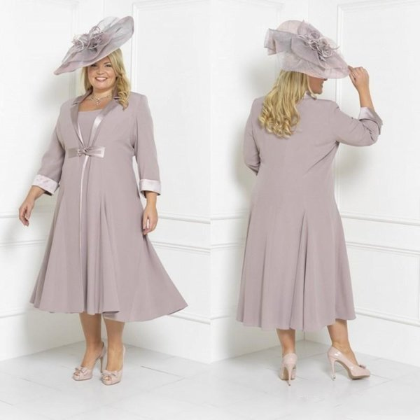 2018 Plus Size Short Mother Off Bride Dresses 3/4 Long Sleeves With Long  Jacket Tea Length Wedding Guest Special Occasion Evening Gowns Wedding  Mother ...