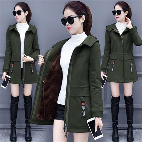 Der neue Frühling und Winter langen Mantel dicken Mantel Korean Anbau wilde Mode Frauen Kapuzen-Windjacke TB962