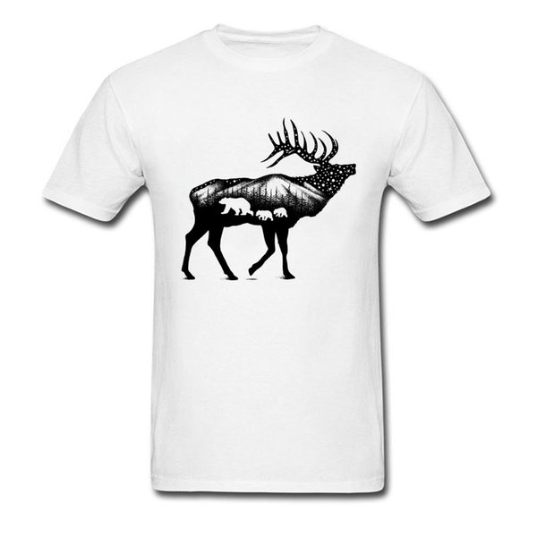 Natural Elk 100% Cotton Soft Fabric Tshirts For Boys Cool Tops T Shirt Deer Graphic Summer Mens T-Shirt Normal Wholesale On Sale