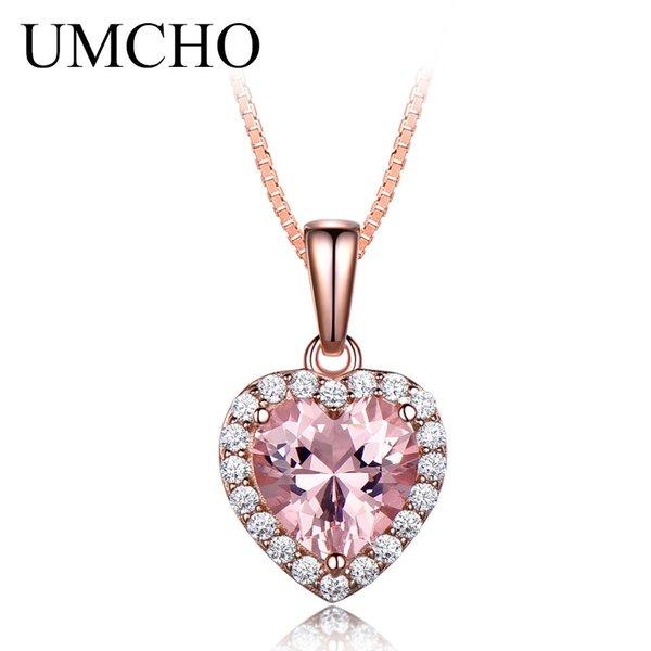UMCHO твердые 925 серебряные ожерелья подвески для женщин розовый Морганит Шарма сердца кулон для девочки подарок ювелирные S18101105
