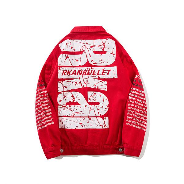 ABOORUN Mens Fashion Denim Jackets Oversized Graffiti Ripped Jeans Coat Hip Hop Streetwear Jackets for Male x1143