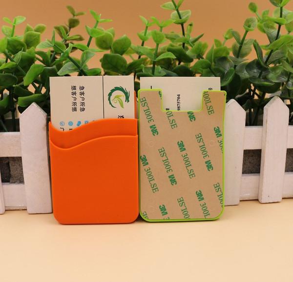 Atacado venda quente cor Puro silicone eco friendly telefone celular titular do cartão caso titular do cartão de identificação de telefone de borracha para smartphone