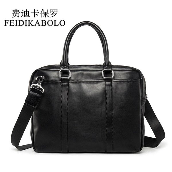 FEIDIKABOLO Famous Brand Business Men Maletín Bolso de Hombre Bolsa de Hombro de Lujo de Cuero Portátil Bolsa de Hombre Simple bolsa maleta