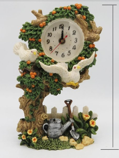 Hankroi Desk Clock Resin 9.5 Inches Height Table Clock Big Orange Tree and Birds Hand Painted Living room Decoration