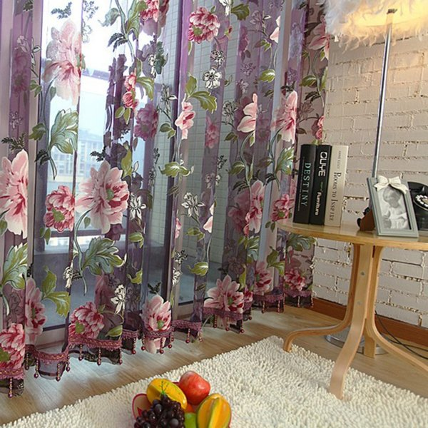 Home Textile Flower Embroidered  3D Voile Curtains fabric Tulle Sheer Curtains For Kitchen Bedroom Living Room