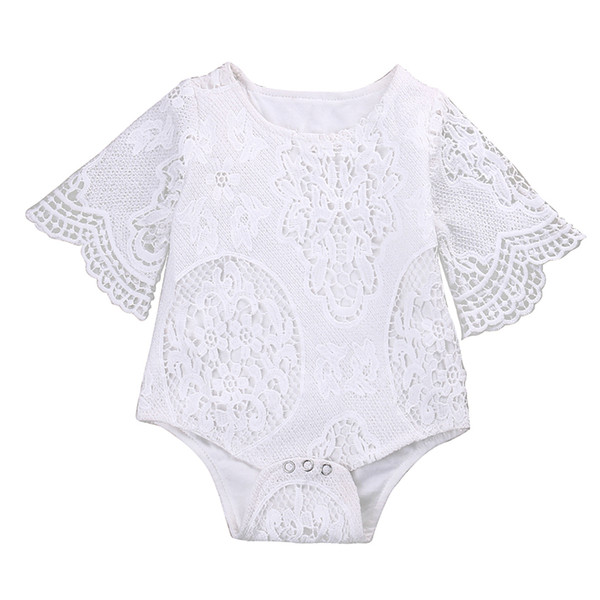 Spitze Weiß Hohl Body Neugeborenes Baby Mädchen Ruffle Sleeve Kleidung Body Overall Outfits