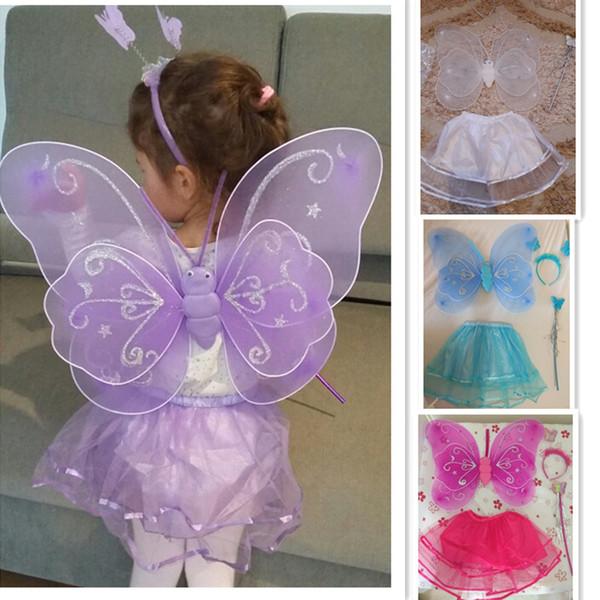 2017 neue Schmetterling Flügelstab Stirnband Tutu Röcke Cosplay Kostüm Für Fee Mädchen Kind Schmetterling wing + Wand + Stirnband + Tutu Röcke