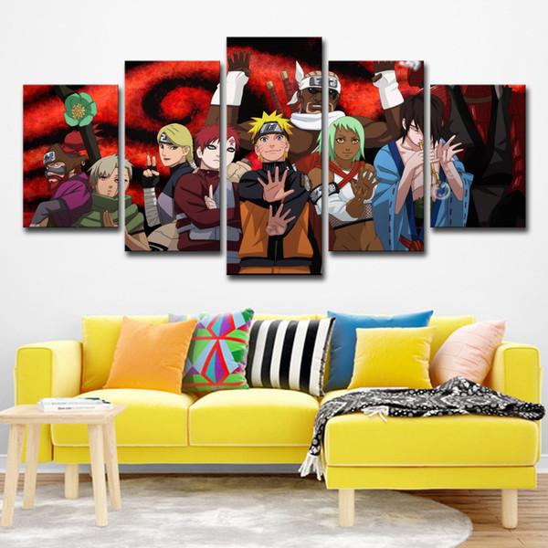 Acheter Moderne Décor à La Maison Toile Art Peinture Peinture Murale Sur Toile 5 Pièces Dessin Animé Naruto Personnages Pour La Décoration Intérieure