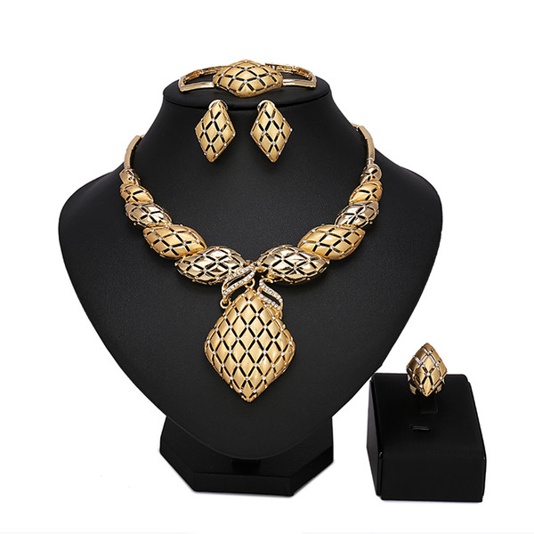 Wholesale Fashionable African Beads Gold Jewelry Sets Crystal Beads Woman Jewelry Nigerian Wedding Bridal Necklace Jewwlry