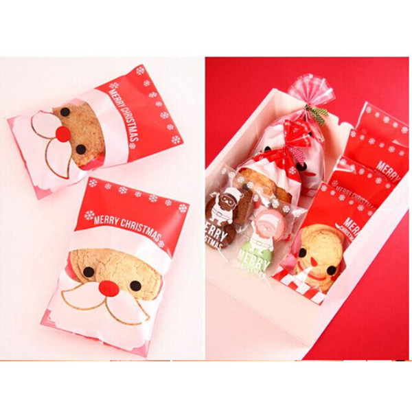 Christmas Santa Claus Clear Cellophane Cookie Sweet Wedding Birthday Candy Party Gusset Packaging Bag Heavy Christmas Wrapping Paper Heavy Duty