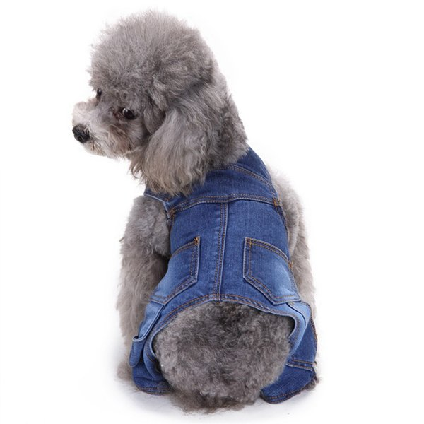 Summer Dog Clothes Pet Overalls Blue Jumpsuits for Puppy Small Dogs Jeans Rompers Pet Clothing Dog Four Legs Clothes Pet Costume