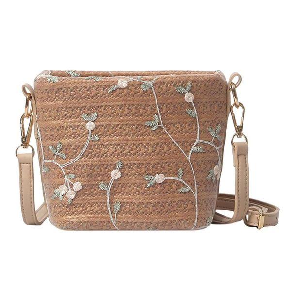 Donne eleganti di estate Paglia floreale Messenger Clutch Zipper Casual Beach Crossbody Shoulder Bags Borsa di paglia donne nuove
