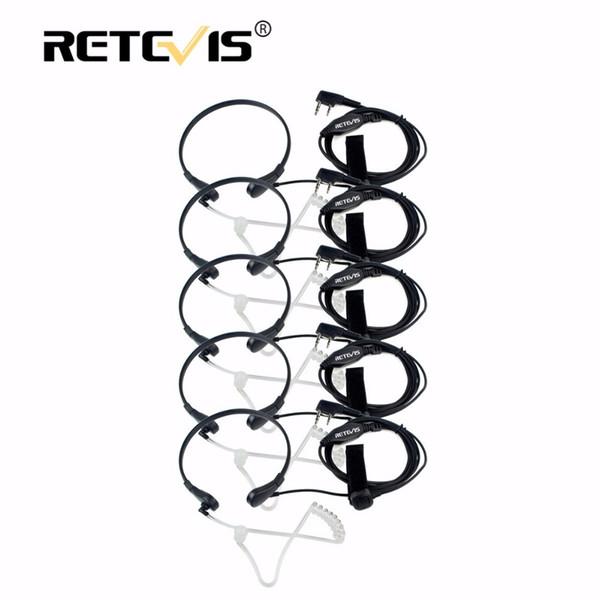 5pcs Retevis Throat Mic Earpiece PTT Headset Walkie Talkie Accessories Baofeng UV 5R UV-82 Kenwood TYT For Puxing