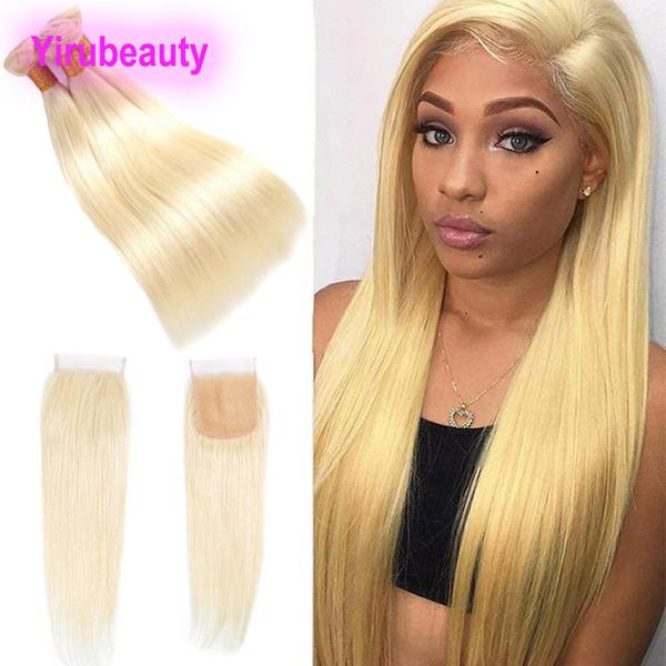 Malaysian Mink 613 # Blonde Gerade Bundles Mit Babyhaarspitze Verschluss 4X4 Mitte Frei Drei Teil 3 Bundlels Mit Verschluss Gerade