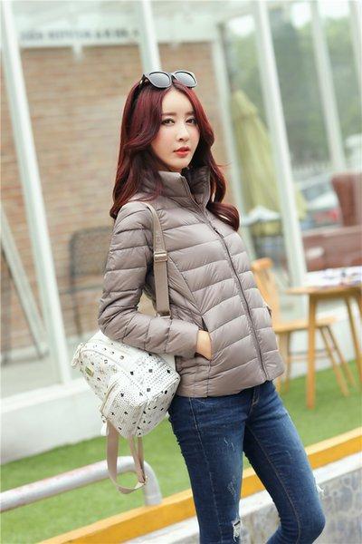 best selling Wholesale 2018 White Duck Down 90% Women Designer Winter Coats Pure colour Winter Jacket Women Color 13 Size S-3XL Ultralight Down Coat