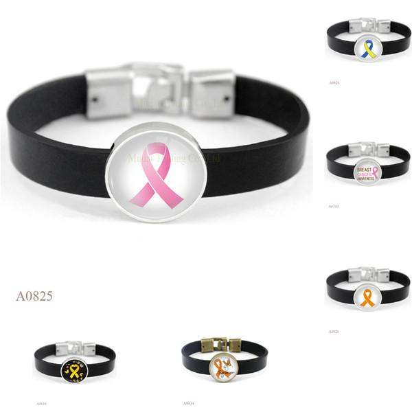 (10PCS/lot)Hope Ribbon Charm Black Leather Cuff Bracelets Glass Cabochon Art Picture Friendship Women Men Children Girl Gift