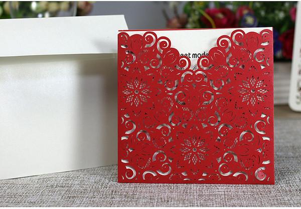 Laser Cutting Hollowed Square New Design invitation Cards Elegant Wedding Invitations Cards Paper Craft Cheap 2018