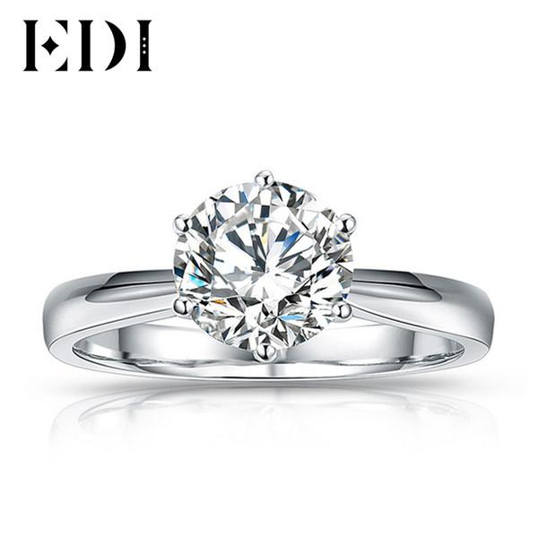 2 ct Forever-Nous deux pierres fiançailles diamant solitaire anneau 14K Or Blanc Finition