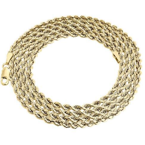Mens Ladies 1/10th 10K Yellow Gold Fill 3.30 MM Hollow Rope Chain Necklace 24 Inch