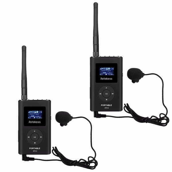 2pcs RETEKESS 0.3W FM-Übermittler-Hand MP3-Rundfunk-Übermittler-tragbares für Auto-Treffen-Reiseleiter-System-Kampieren