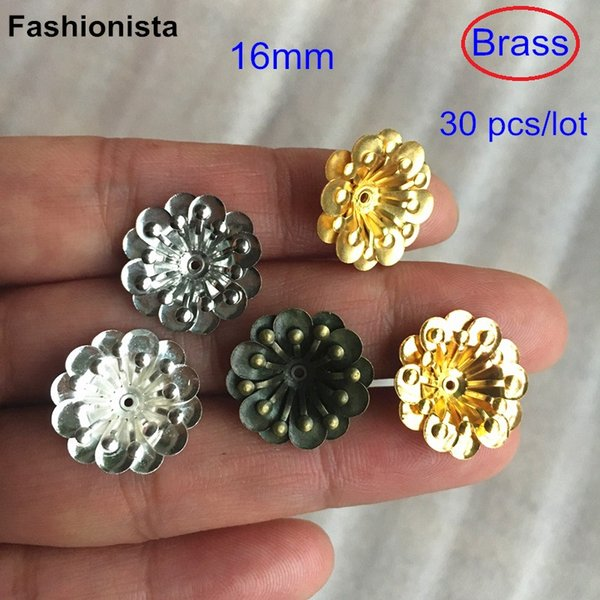 30 pcs Multi layer Brass Flowers 16mm Brass Petal Bead Caps,Metal Stamped Flowers,Gold-color,silver-color,bronze,Steel,raw brass