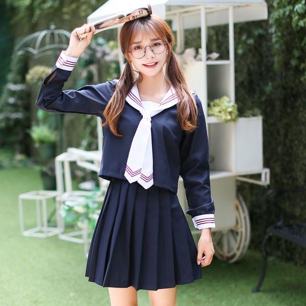 Anime costume Girl cosplay dress Long Sleeve Japanese Korea School Uniform Students Suit Campus Female Naval College Style Sailor Uniforms