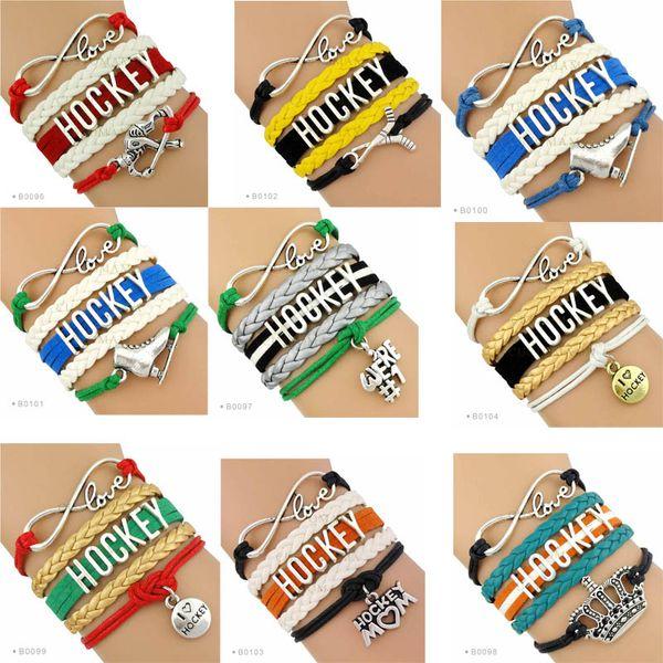 (New Fashion )Infinity Love Hockey Bracelet Ice Hockey Bracelet Puckster Crown Charm Hockey Mom Skates Stick Bracelet