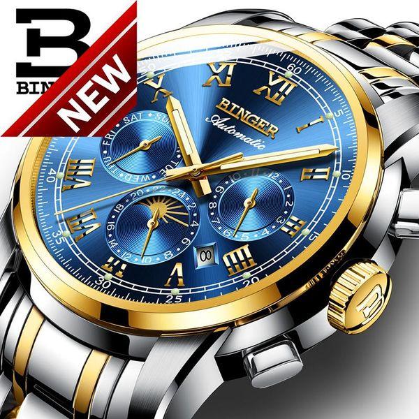 0b9627ee044 Suíça Relógio Mecânico Automático Dos Homens Binger Marca de Luxo Mens  Relógios de safira relógio À