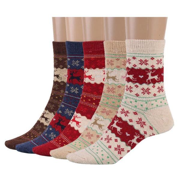 Women Christmas Gift Sock 5 Styles Winter Rabbit Wool Snowflake Deer Pattern designer Sockings Autumn Warm luxury girl Socks