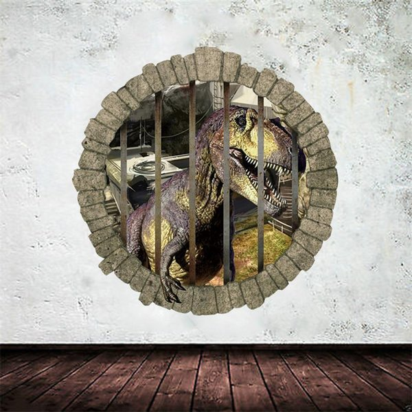 3D hole cartoon movie boy fans love gift Dinosaur Live In Park room decal wall sticker home decoration kids room decor stickers