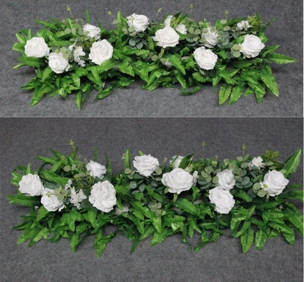 Hessian Vintag Wedding flower wall rose row flowers Road Lead outdoor wedding Garden flowers arches silk flower backdrops decor