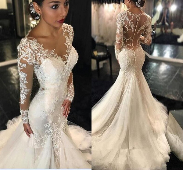 2020 New Dubai African Mermaid Wedding Dresses V Neck Lace