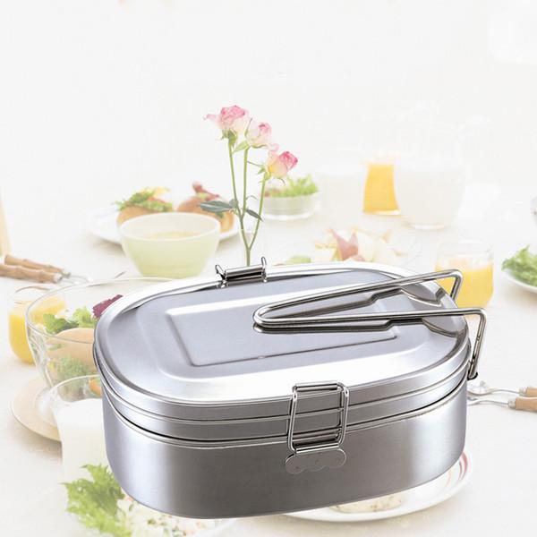 Contenitore per alimenti in acciaio inossidabile Contenitore per alimenti in acciaio inossidabile Contenitore per alimenti in due parti con manico e coperchio