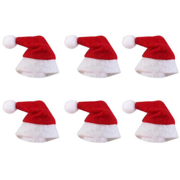 Mini Christmas Hat Santa Claus Hat Xmas Lollipop Hat Mini Wedding Gift Creative Caps Christmas Tree Ornament Decor