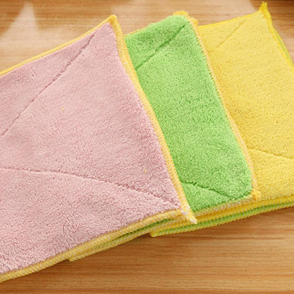 Household Cleaning Cloths 5 Color Dish Cloth Bamboo Fiber Washing Towel Magic Kitchen Cleaning Wiping Rags