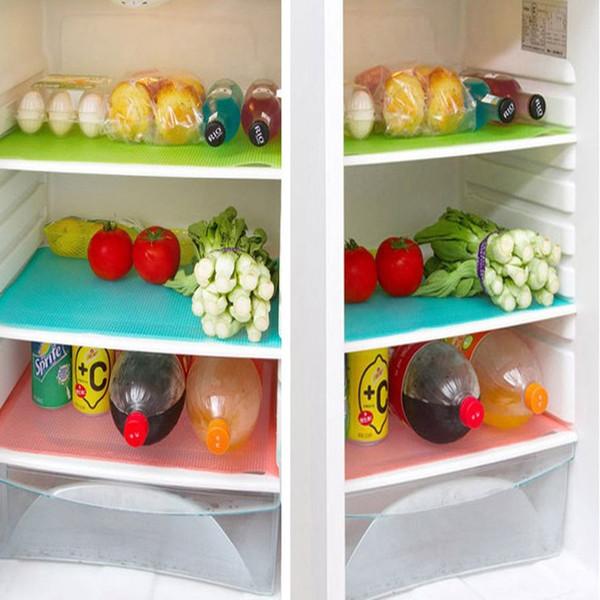 Nuevo de la manera 4pcs / set Refrigerador Mats impermeable Frigorífico cojín antibacteriano Antifouling moho humedad del cojín de la decoración de la tabla de cocina