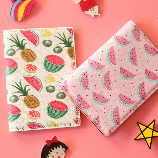 Various Fruit Travel Passport Cover 14*10CM PU Leather Passport holder  Holder,Card Bag,Business Porte Carte Simple