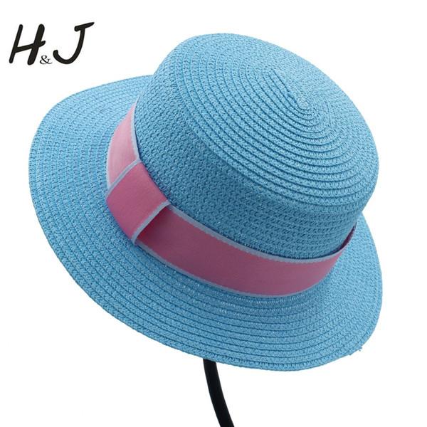 Summer Toquilla Straw Women Top Flat Dome Chapeu Feminino Beach Sun Hat Elegant Lady PorkPie Sunbonnet Fedora Hat Red Ribbon