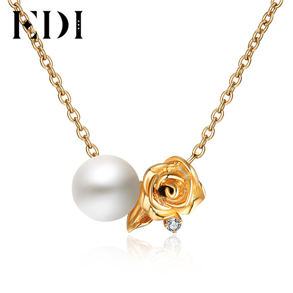 EDI Rose Flower Natural Freshwater Pearls H/SI Diamond 18k Yellow Gold Pendant For Women Romantic Necklace Chain Fine Jewelry S923