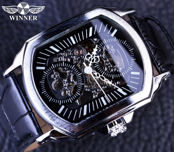 Ganador 2018 Retro Classic Designer Silver Stainless Steel Case Hombres Relojes Top Brand Luxury Mechanical Reloj automático Reloj Hombres