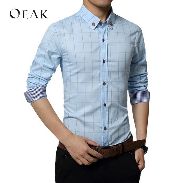 Oeak 5XL Plaid Printed Long Sleeve Formal Men Shirt Turn-down Collar Slim Male Business Dress Shirts Patchwork camisa masculina
