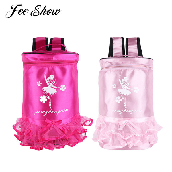 Fashion Kids Girls Adorable Ballet Dance Bag Backpack Ballerina Dancing Print Tiered Ruffle Tutu Bag Shoulder Backpack for Dance