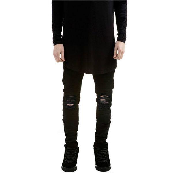 Jeans strappati per uomo Skinny Distressed Slim 2018 Designer Biker Hip Hop Swag Tyga Jeans neri bianchi Kanye West