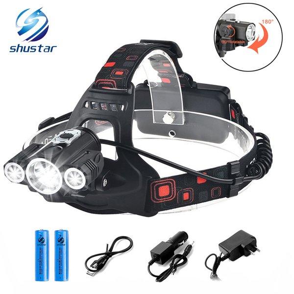 Shustar LED Lampe frontale 3x T6 3 lampes 4 Dimmable Mode étanche 10000LM LED lampe de poche Lumière de pêche Chargeur de batterie rechargeable