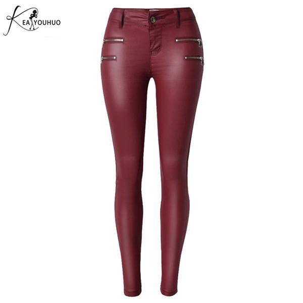 Pantalon en similicuir pour femmes taille haute trois Buons Slim élasticité mode rouge Lederhosen pour femme Pantalon Femme Jeans skinny