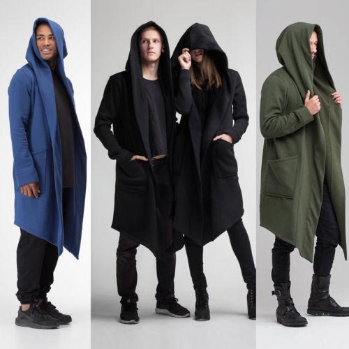 best selling HIRIGIN Men Women Winter Windproof Hooded Coat Cloak Long Sci-fi Kimono Cardigan Burning Man Costume Blends Warm Outwear