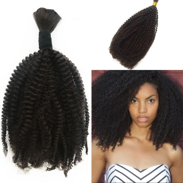 Afro Kinky Curly Bulk Hair Weave Natural Color Brazilian Mongolian Cambodian Human Extensions Large Stock 8-26 Inch In Stock FDSHINE