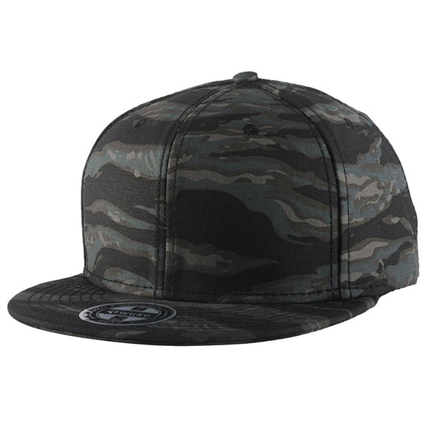 Embroidery Snapback, Baseball Hat Flat Brim Hip Hop Caps, Black camouflage Waves